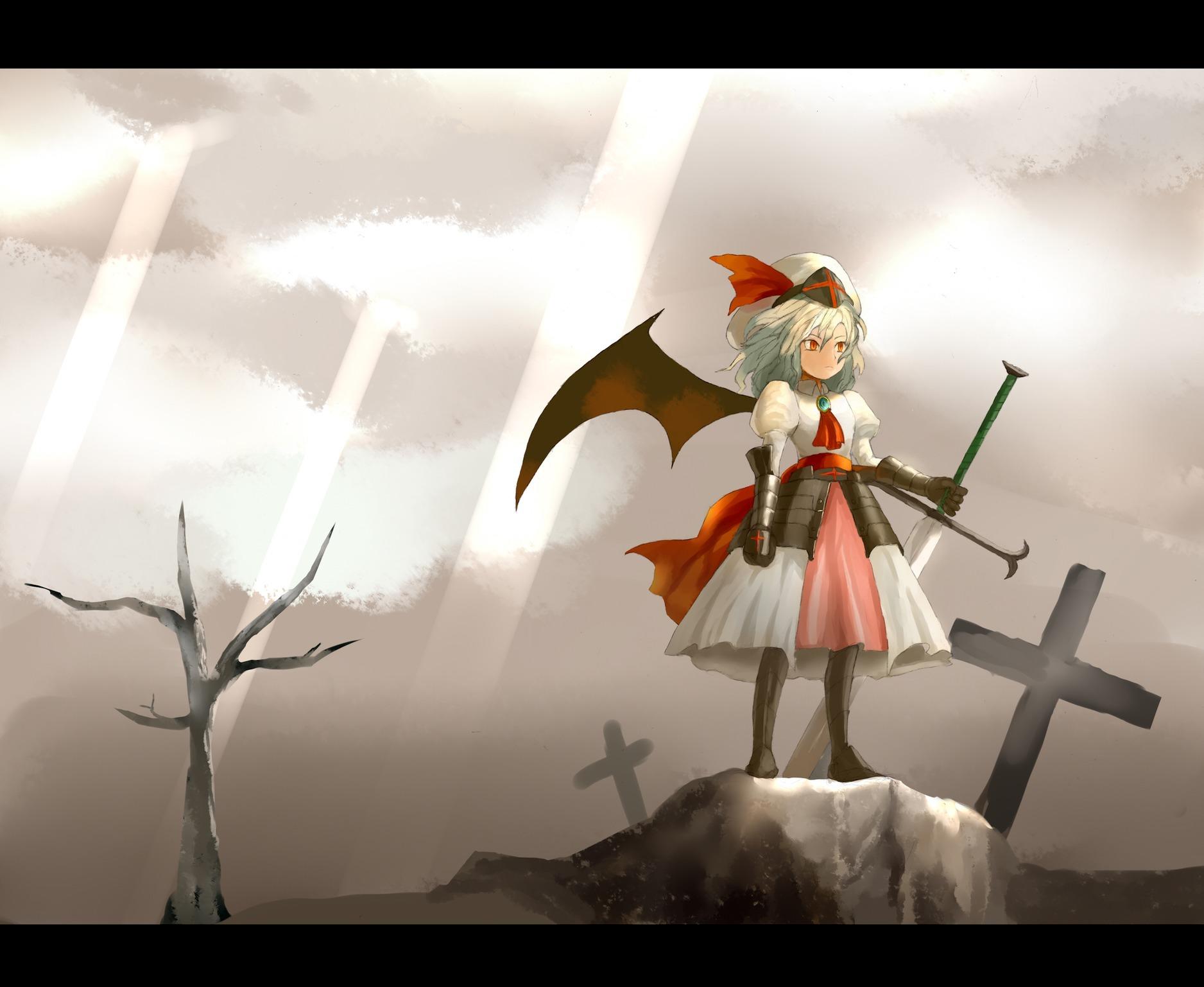 armor cross remilia_scarlet sky sword touhou vampire weapon wings