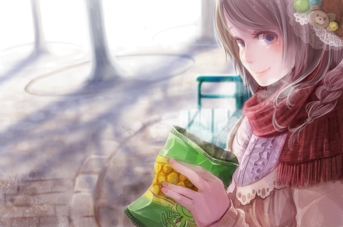 aka_tonbo_(lovetow) braids brown_hair food original purple_eyes scarf short_hair winter