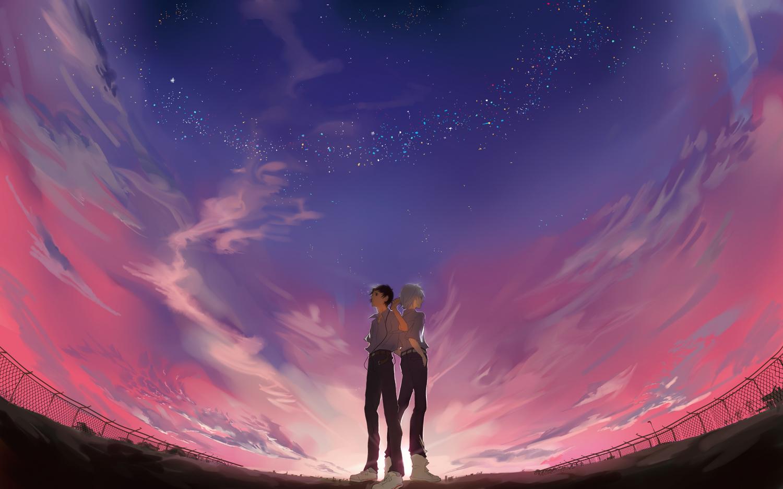 all_male clouds ikari_shinji male nagisa_kaworu neon_genesis_evangelion night scenic sky stars sunset xiayu93