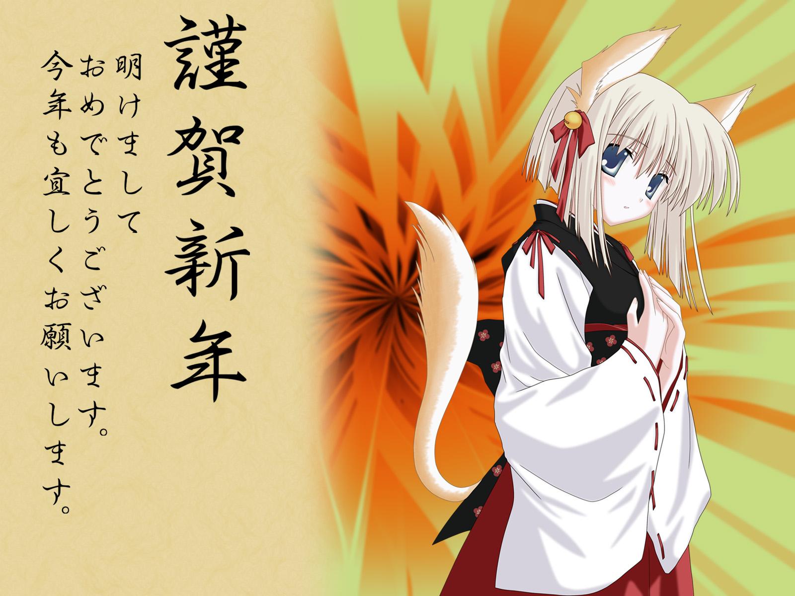 animal_ears blue_eyes foxgirl japanese_clothes miko ribbons short_hair tail white_hair