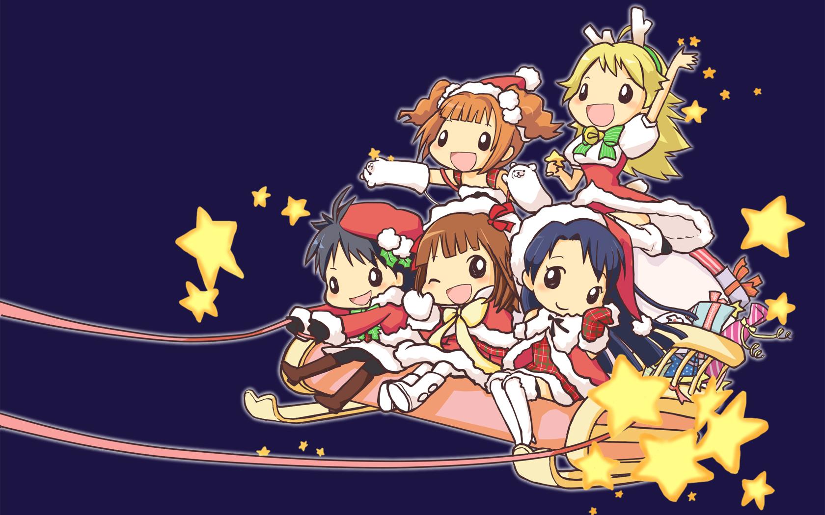 amami_haruka blue chibi christmas hoshii_miki idolmaster kikuchi_makoto kisaragi_chihaya takatsuki_yayoi