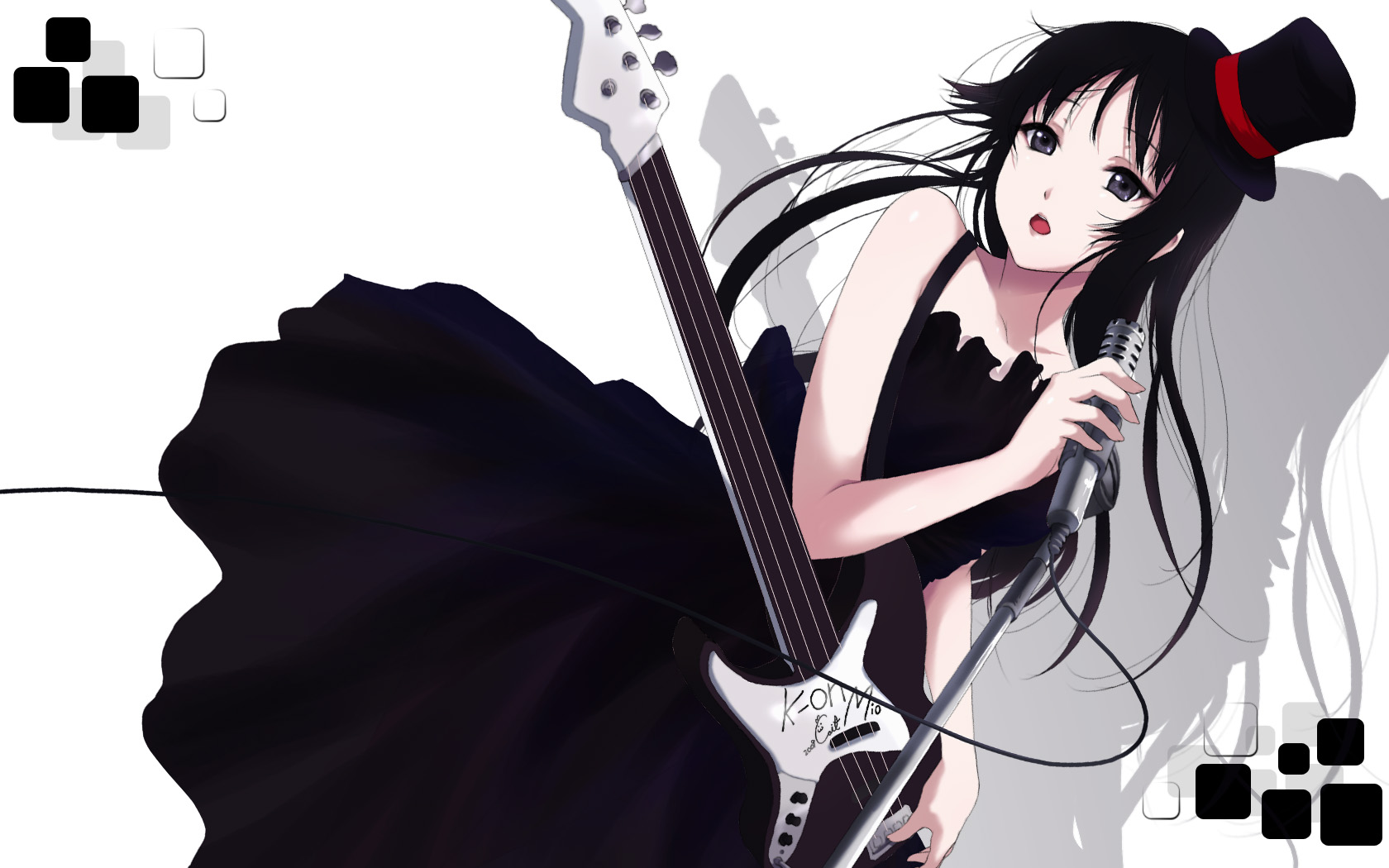 akiyama_mio black_hair cait dress goth-loli gray_eyes guitar hat instrument k-on! lolita_fashion long_hair microphone signed white