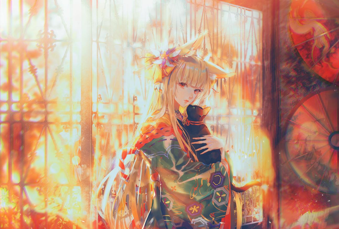 animal animal_ears blonde_hair cat foxgirl izumi_(sdorica) japanese_clothes kimono long_hair orange_eyes say_hana sdorica_-sunset- umbrella