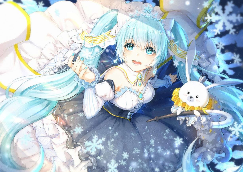 animal aqua_eyes aqua_hair breasts cleavage dress hatsune_miku long_hair rabbit snow twintails vocaloid xiaolailailai yuki_miku yukine_(vocaloid)