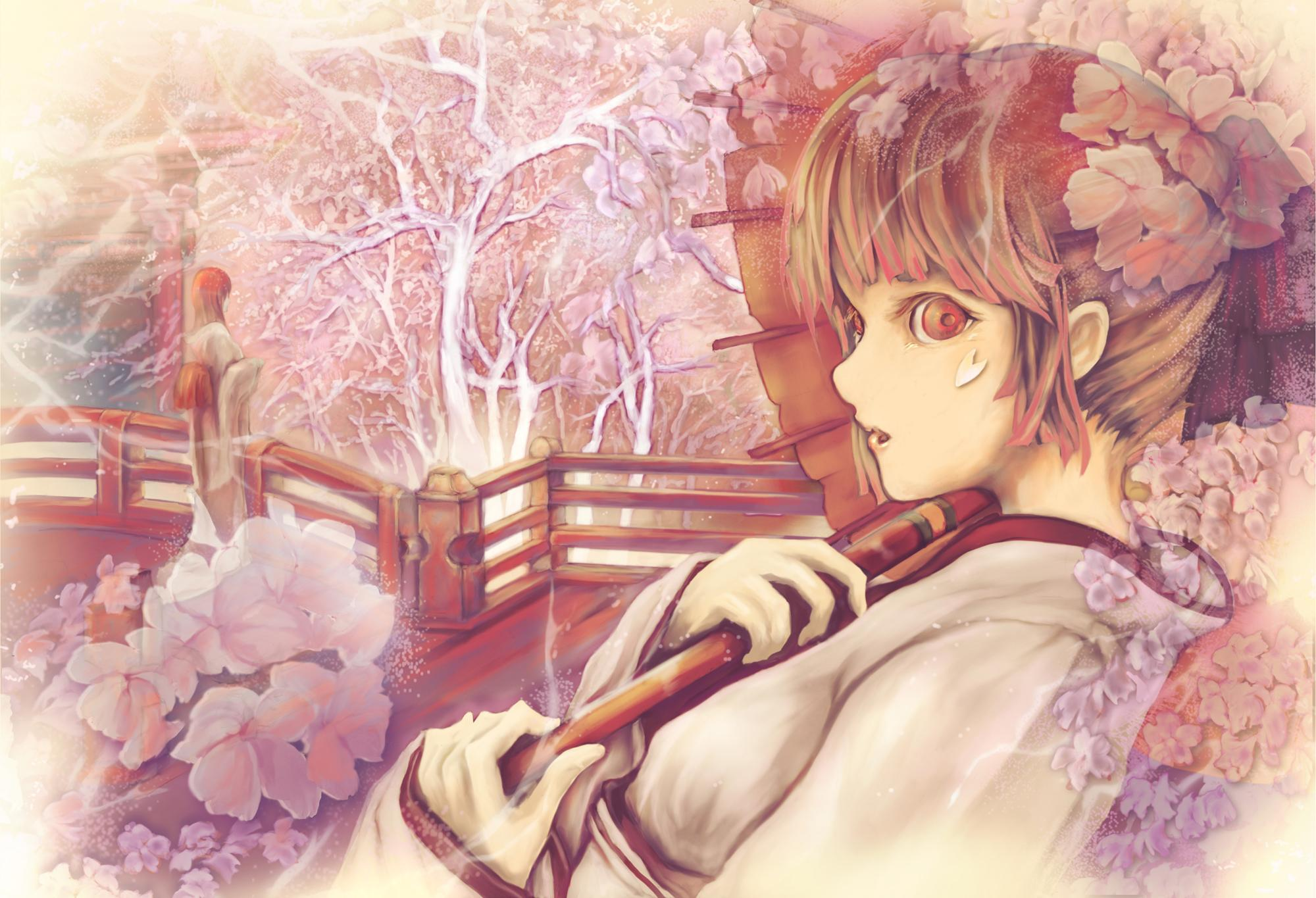 cherry_blossoms japanese_clothes kentarou kimono original red_eyes umbrella