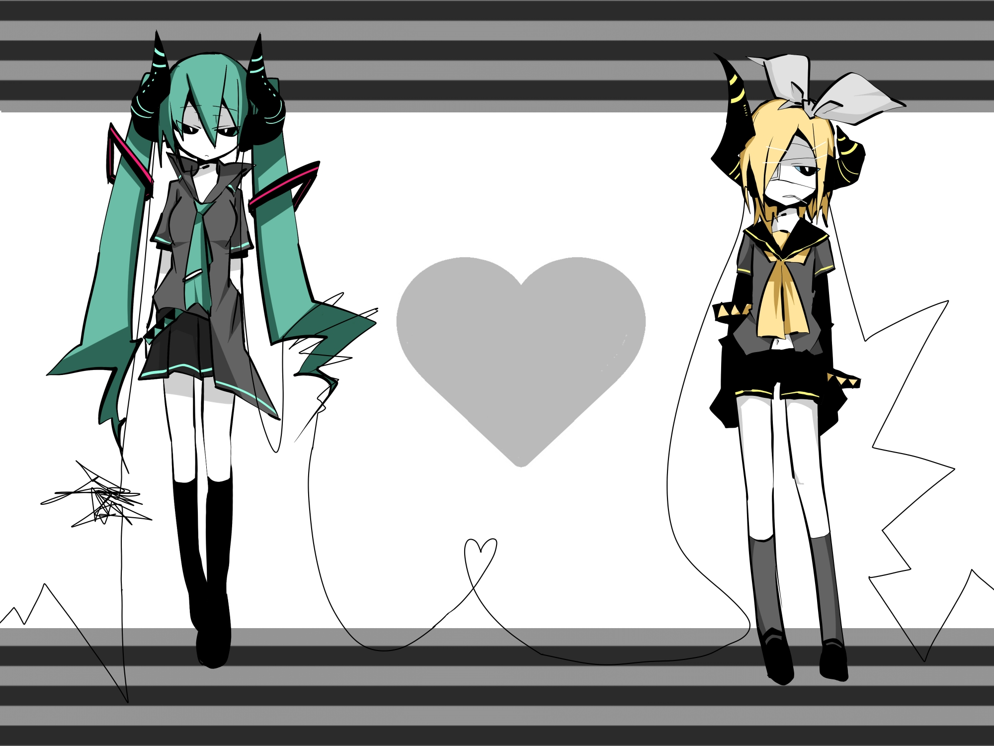 eyepatch hatsune_miku horns kagamine_rin twintails vocaloid