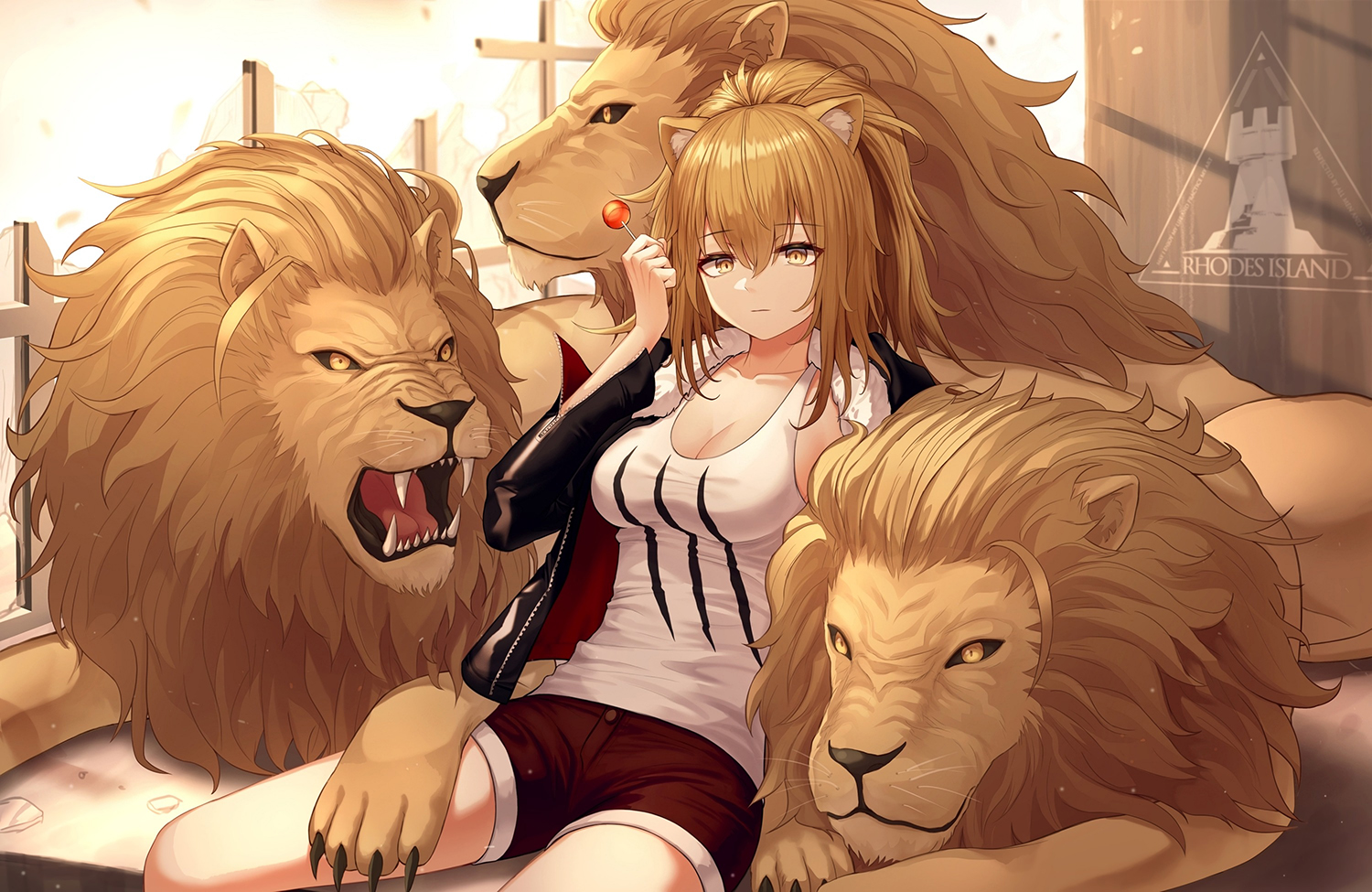 animal animal_ears arknights blonde_hair breasts candy catgirl cleavage lion lollipop long_hair myung ponytail shorts siege_(arknights) yellow_eyes
