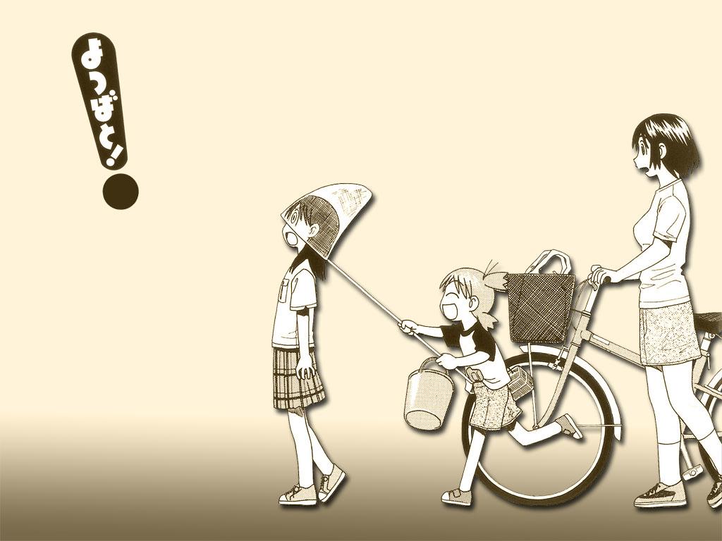 ayase_ena ayase_fuuka azuma_kiyohiko bicycle gradient koiwai_yotsuba monochrome yotsubato!