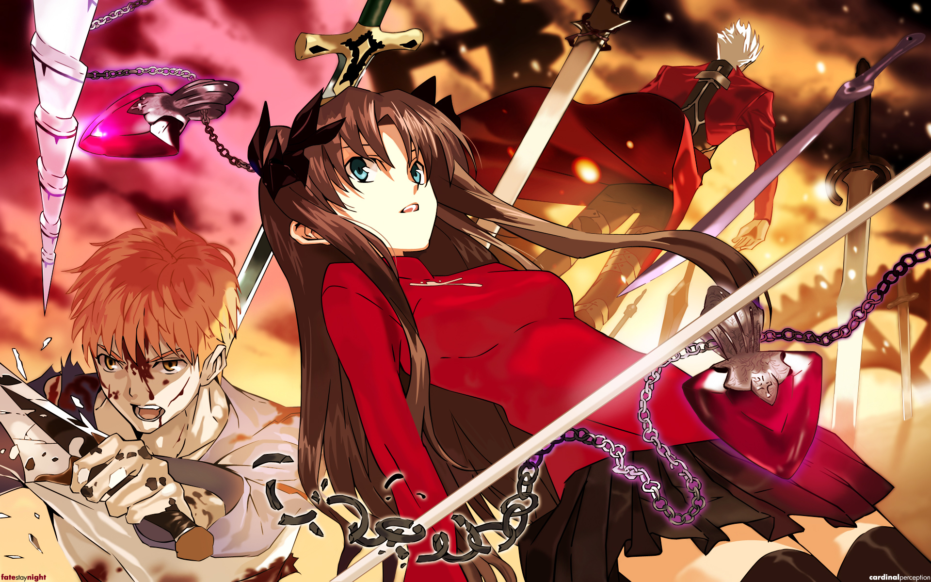 archer emiya_shirou fate/stay_night tohsaka_rin unlimited_blade_works