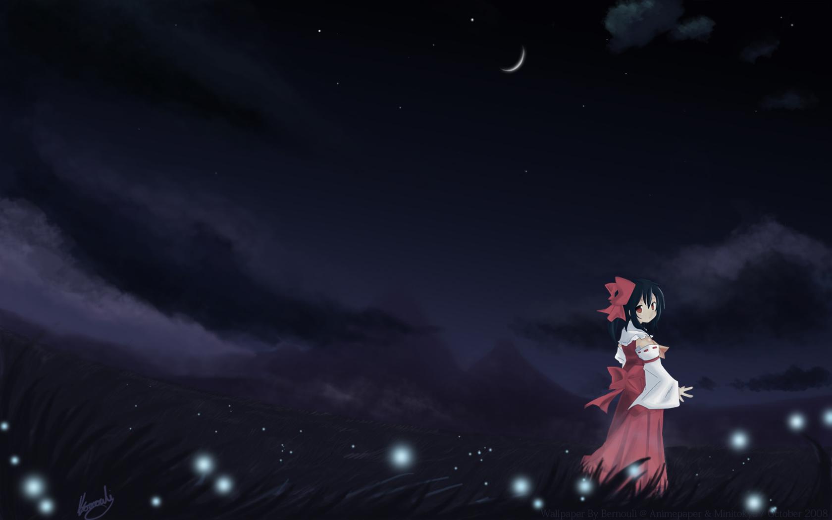 black_hair bow clouds dark grass hakurei_reimu japanese_clothes miko moon night red_eyes short_hair signed sky stars touhou watermark