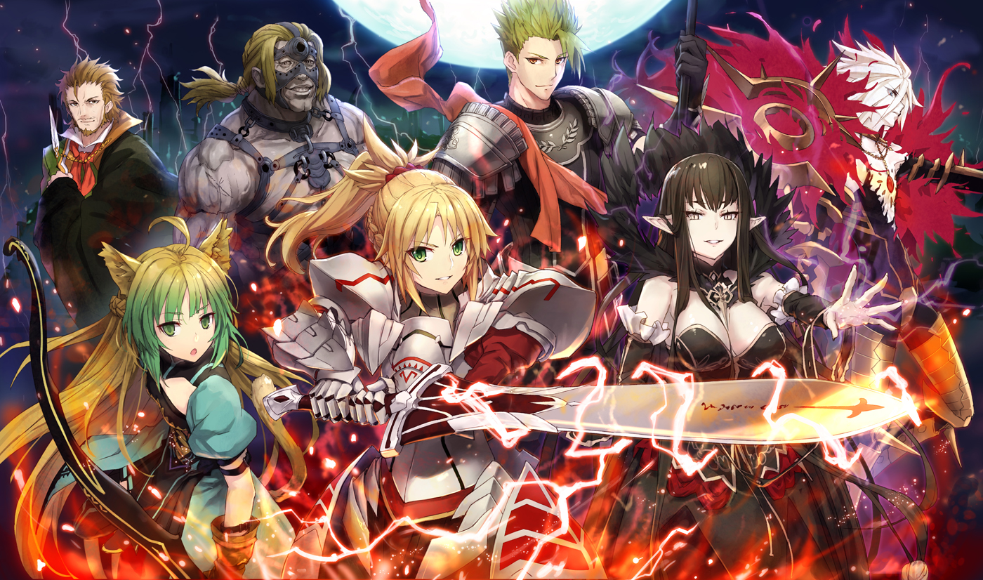 achilles animal_ears armor atalanta_(fate) black_hair blonde_hair bow_(weapon) braids brown_eyes brown_hair dress elbow_gloves fate/apocrypha fate_(series) gabiran gloves green_eyes green_hair group karna long_hair male mordred pointed_ears ponytail semiramis short_hair spartacus sword tail weapon william_shakespeare