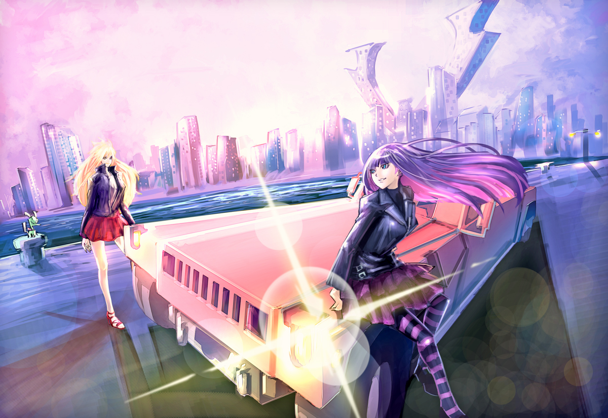 blonde_hair building car chuck city komgakure panty_(character) panty_&_stocking_with_garterbelt see_through_(jeep) skirt stocking_(character)
