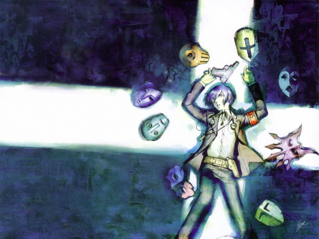 arisato_minato gun mask persona persona_3 soejima_shigenori weapon