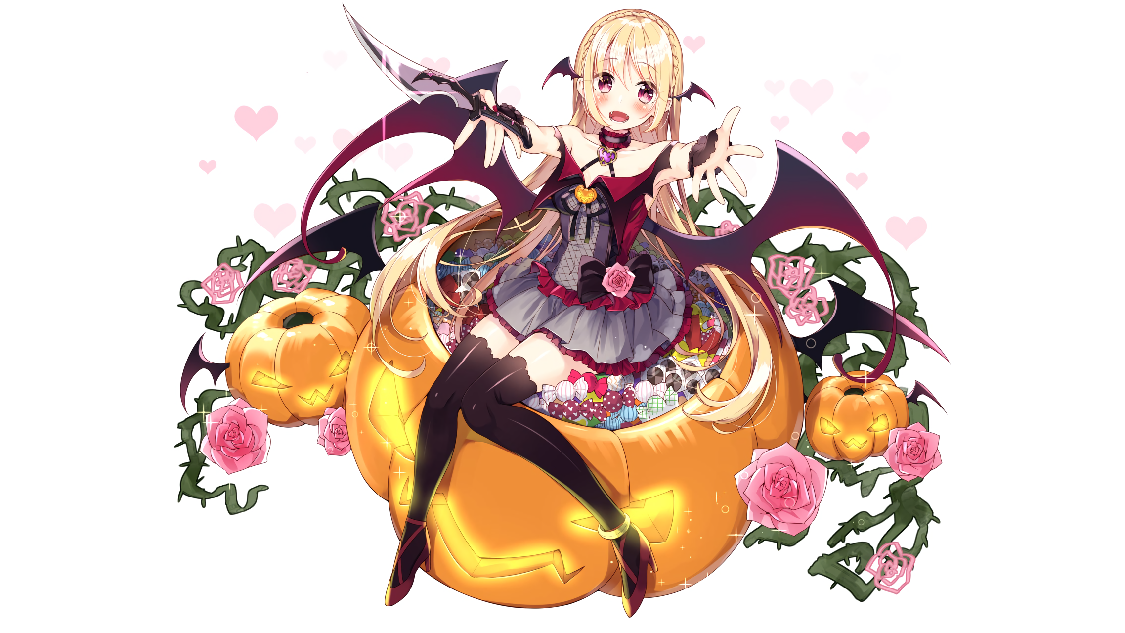 Blonde hair blush candy dress fang flowers halloween heart knife long
