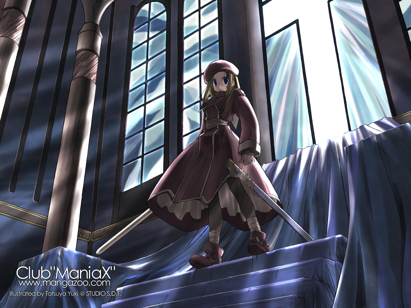 club_maniax stairs sword weapon yuuki_tatsuya