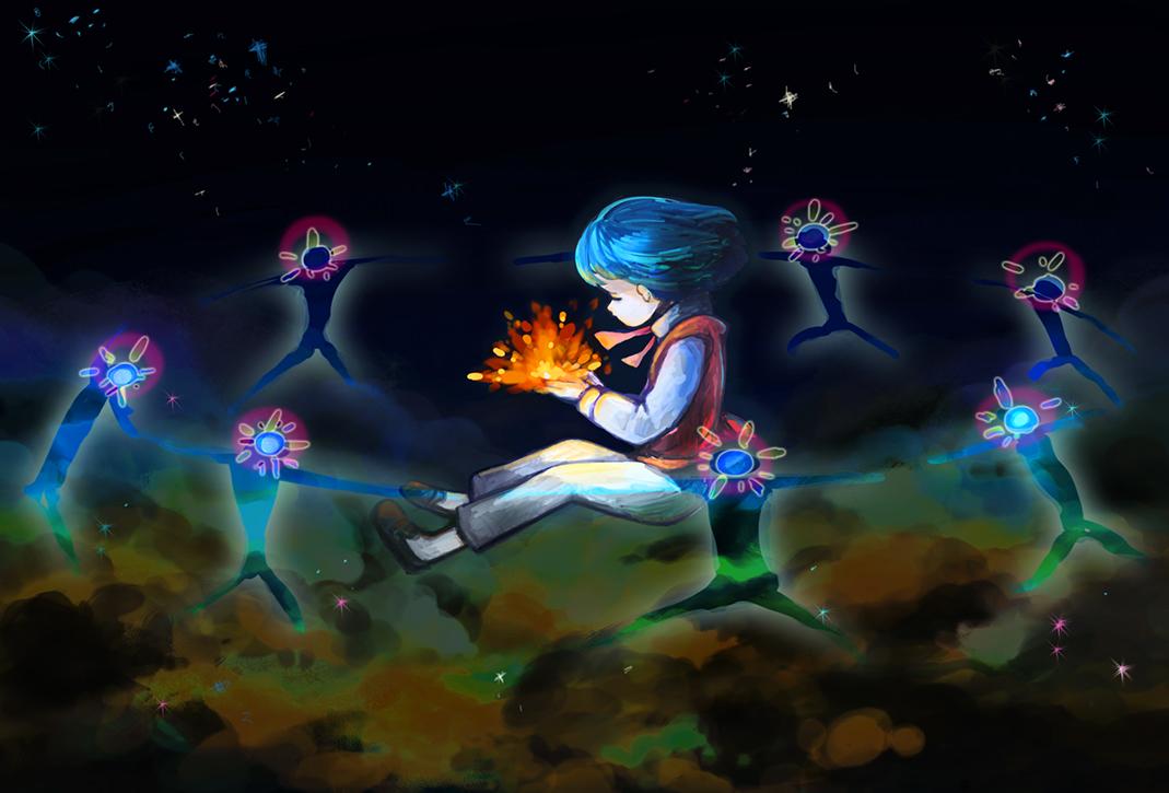 all_male aqua_hair dark fire howl howl's_moving_castle male noja short_hair space stars