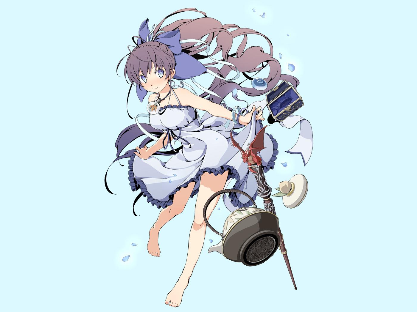 azuma_syoujuan barefoot blue dress long_hair ryuugajou_nanana ryuugajou_nanana_no_maizoukin
