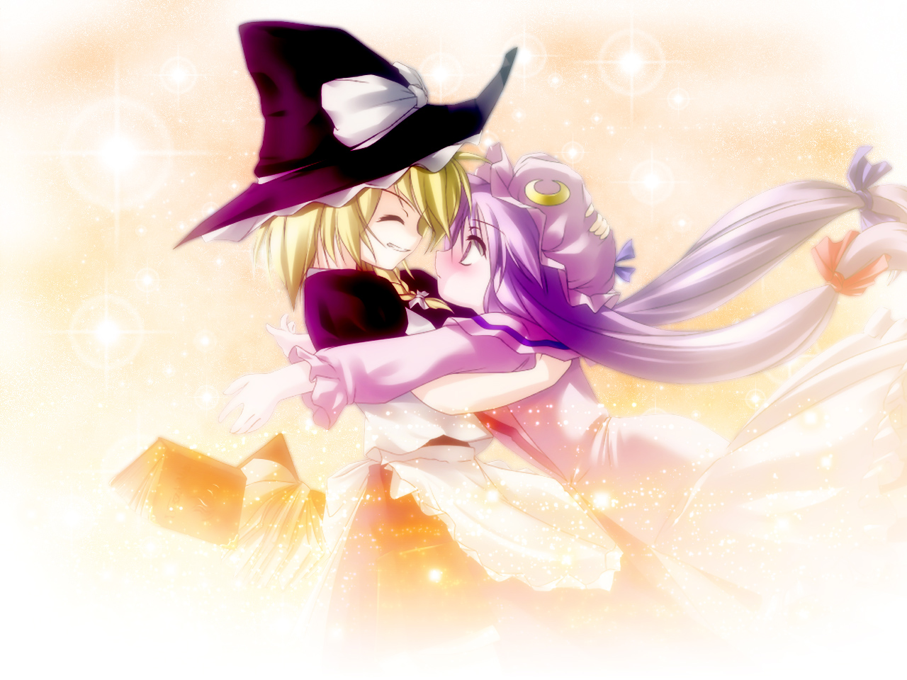 blonde_hair book hat kirisame_marisa long_hair patchouli_knowledge purple_eyes purple_hair ribbons short_hair touhou