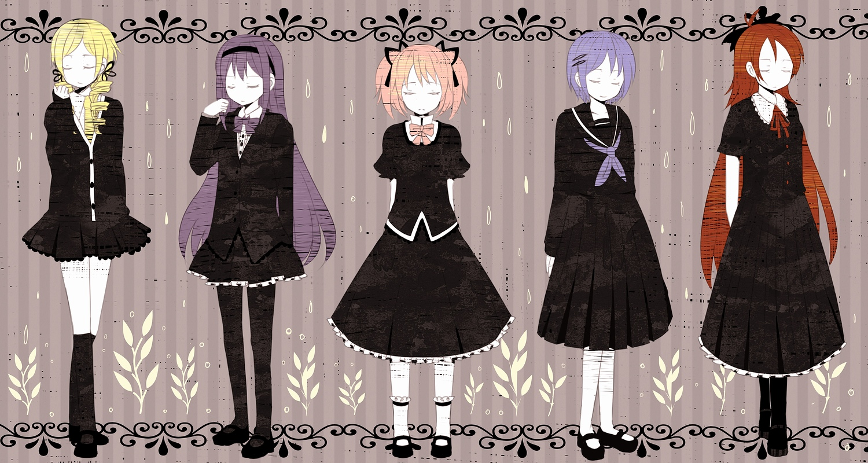akemi_homura kaname_madoka mahou_shoujo_madoka_magica miki_sayaka nomiya_(no_38) sakura_kyouko tomoe_mami