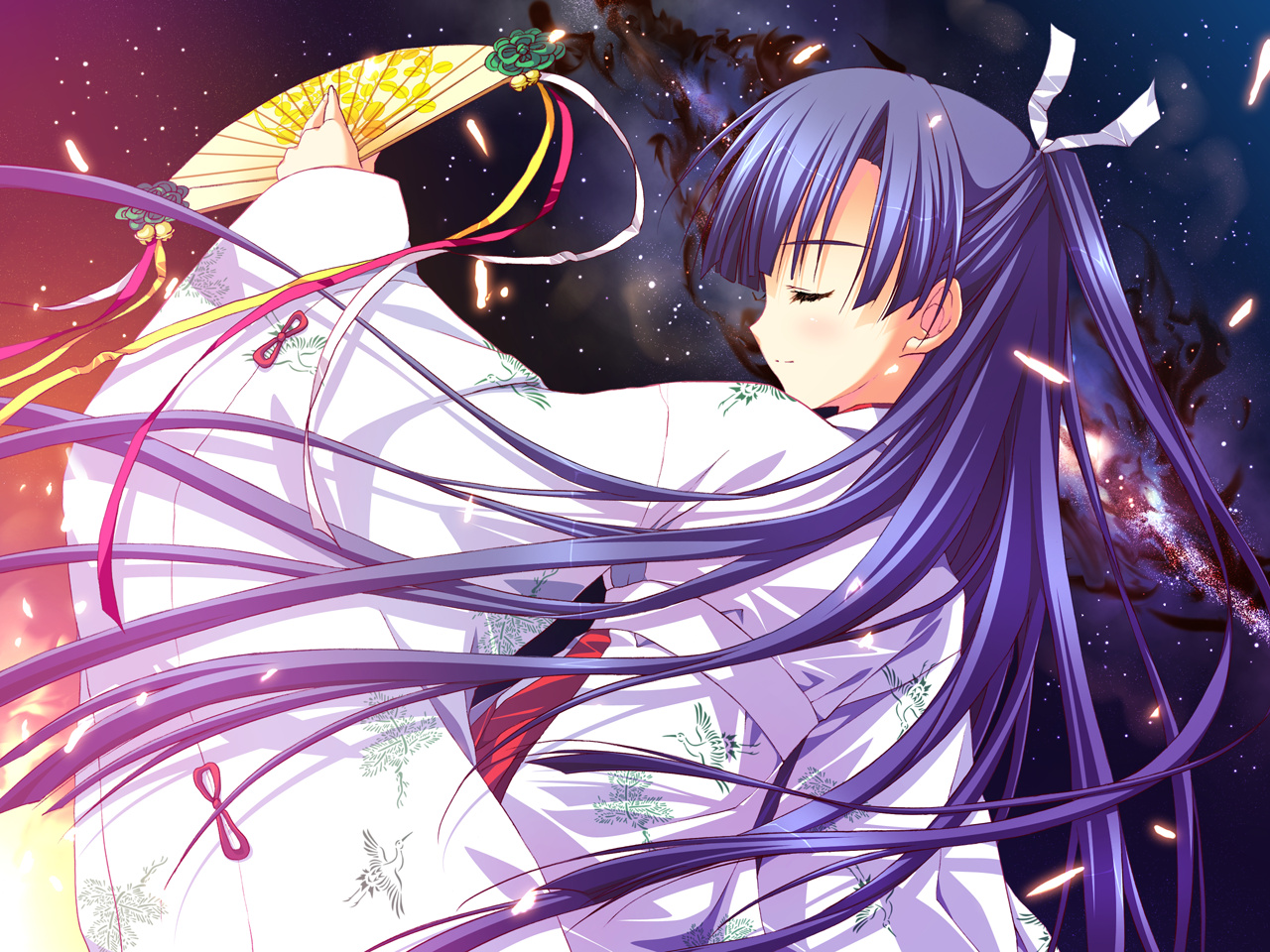 fan feng game_cg hoshizora_e_kakaru_hashi japanese_clothes koumoto_madoka long_hair night purple_hair ryohka yukata