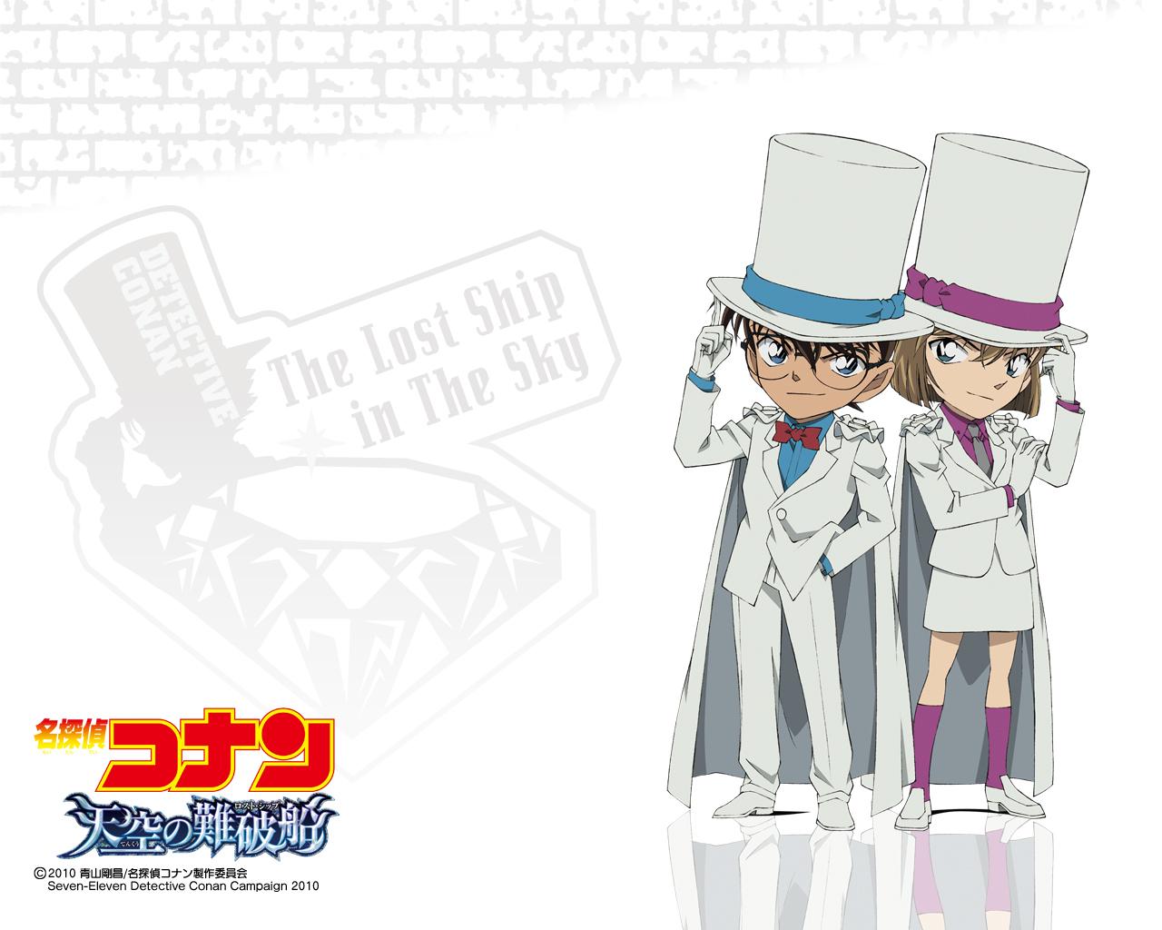 blue_eyes brown_hair cape detective_conan edogawa_conan glasses gloves haibara_ai male ribbons short_hair skirt suit tie white