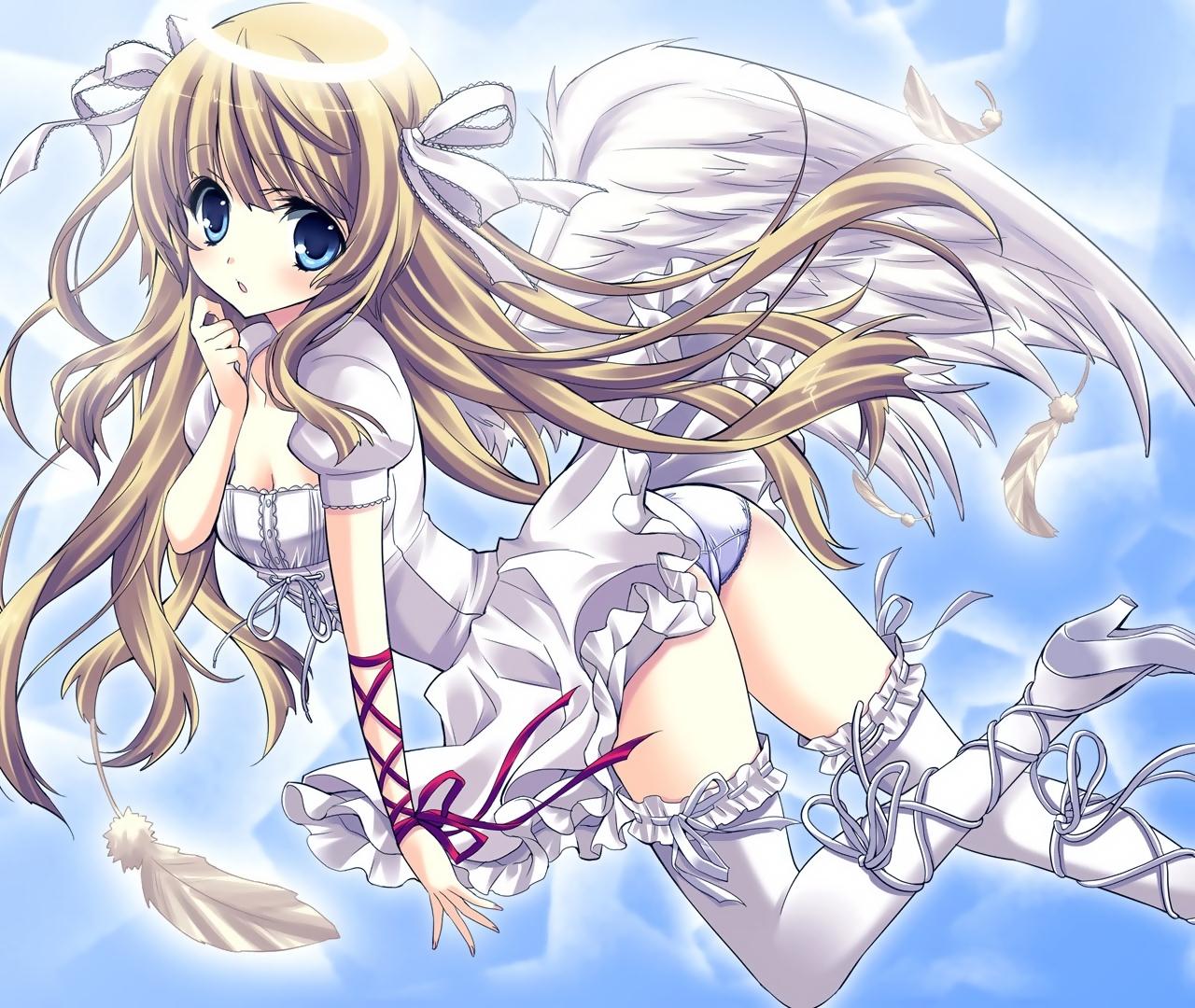 blonde_hair blue_eyes feathers long_hair panties ribbons sky thighhighs underwear wings yukiwo