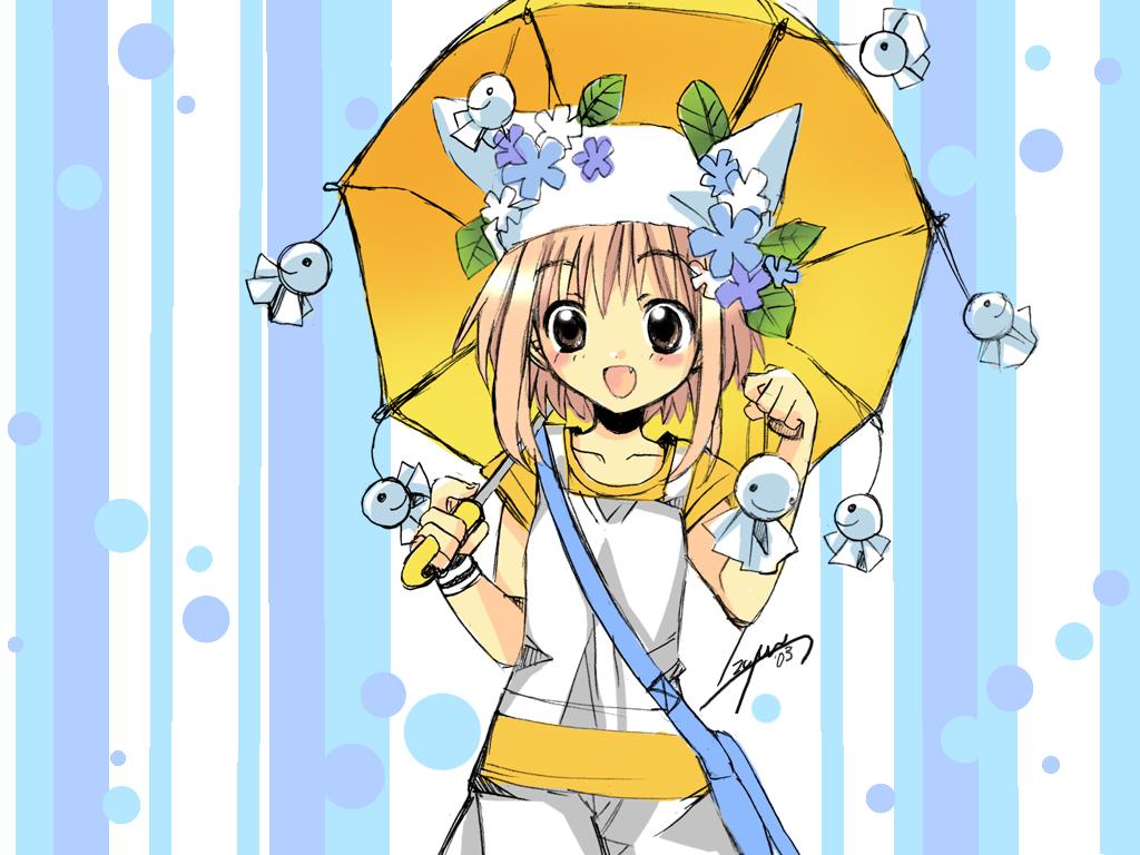 animal_ears brown_eyes fang izumi_rei leaves shigure_ama shuffle signed umbrella