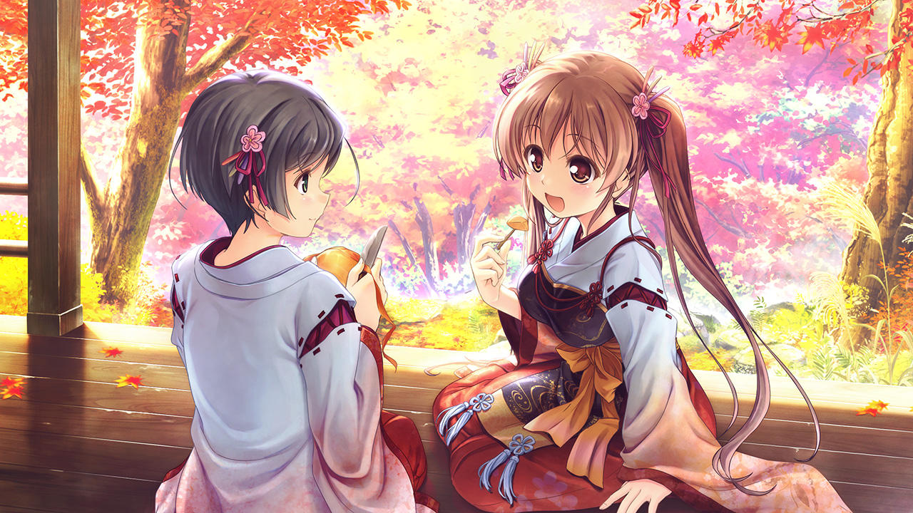 2girls august autumn food game_cg japanese_clothes knife leaves miko sen_no_hatou_tsukisome_no_kouki shade shiinoha_kotone tagme_(artist) tagme_(character) twintails