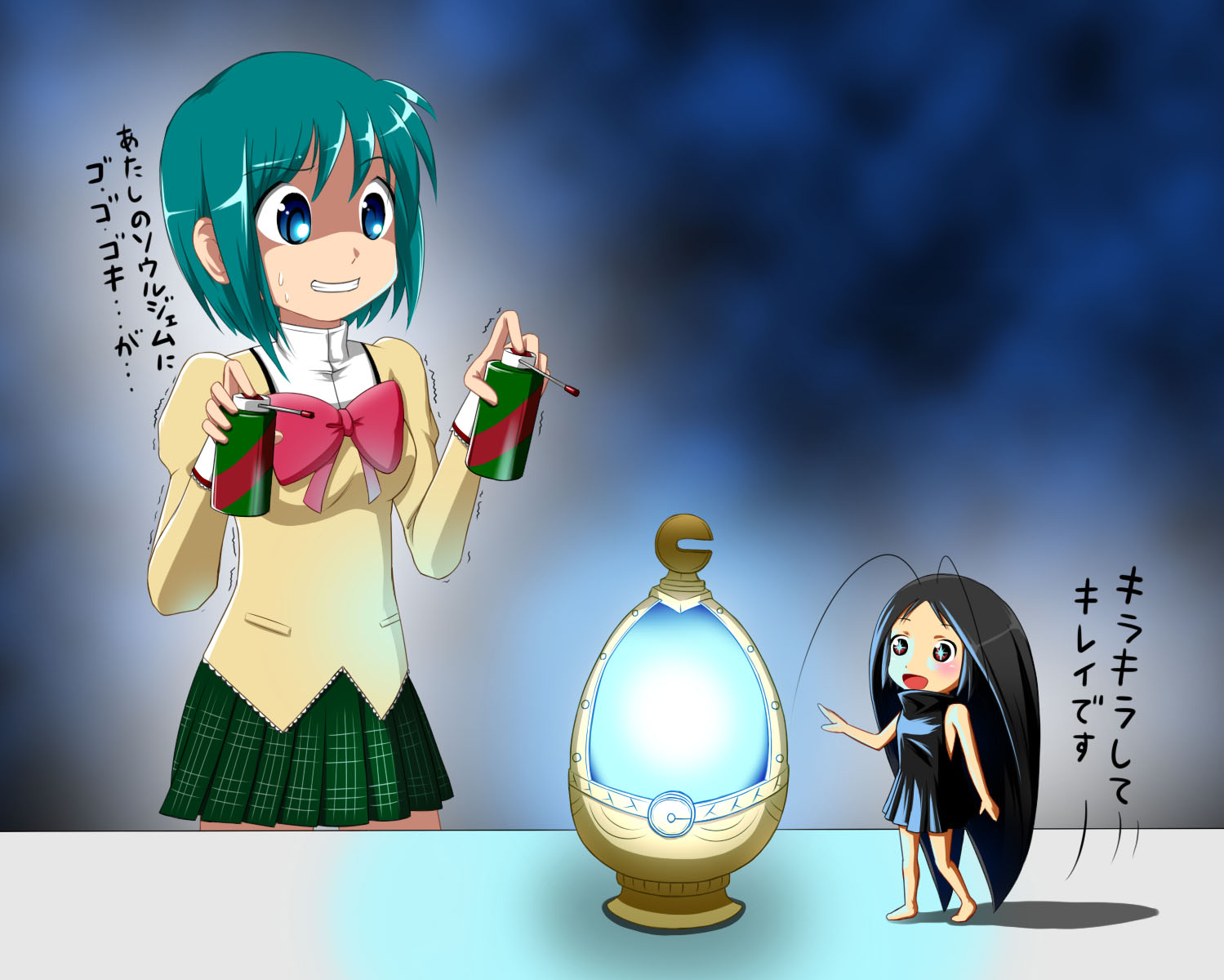 2girls aqua_hair black_hair blue_eyes blush bow brown_eyes chibi crossover gokicha gokicha_(character) hipporit jpeg_artifacts long_hair mahou_shoujo_madoka_magica miki_sayaka seifuku short_hair