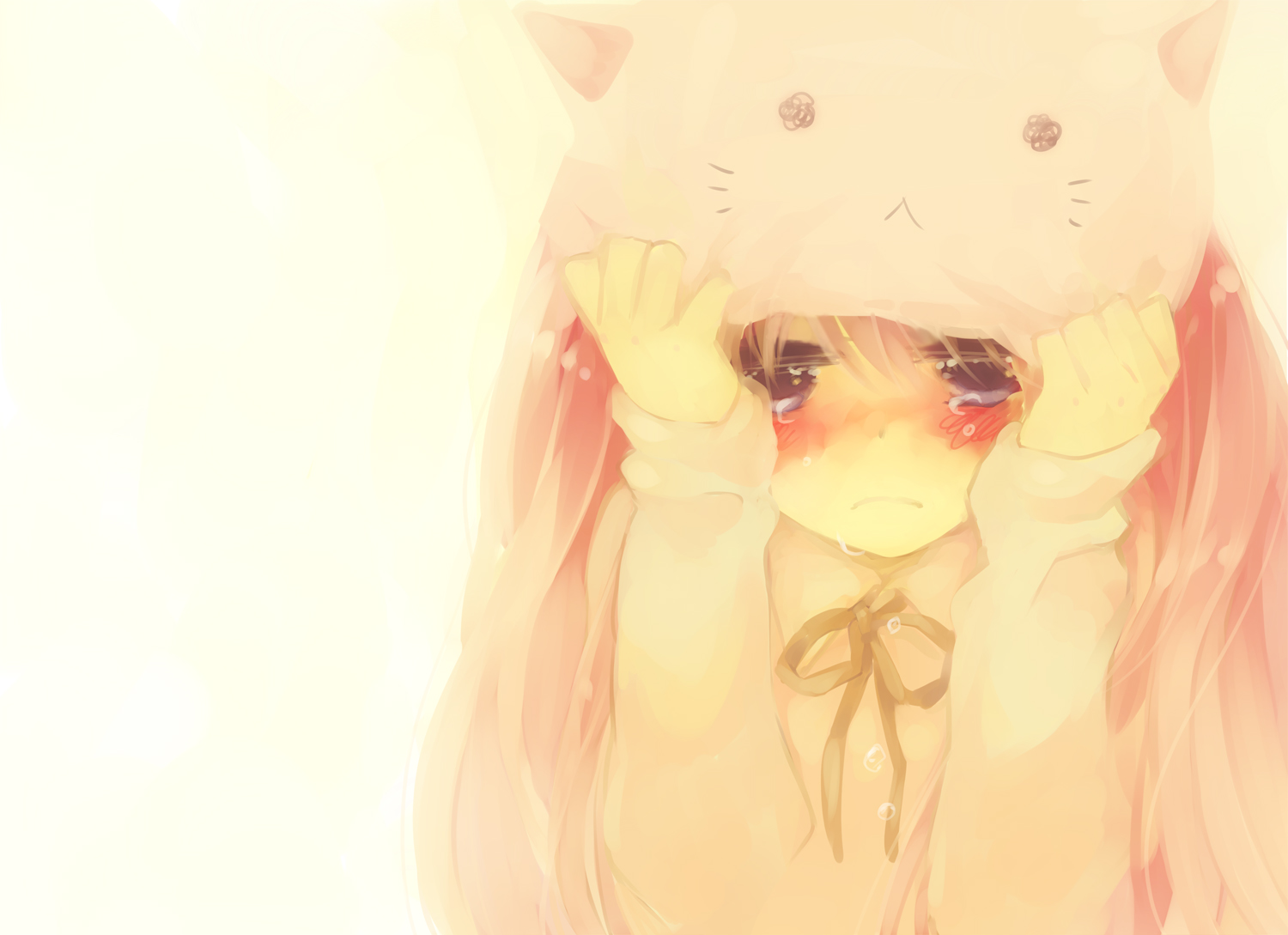 blue_eyes blush crying long_hair megurine_luka pink_hair ribbons toeto vocaloid white