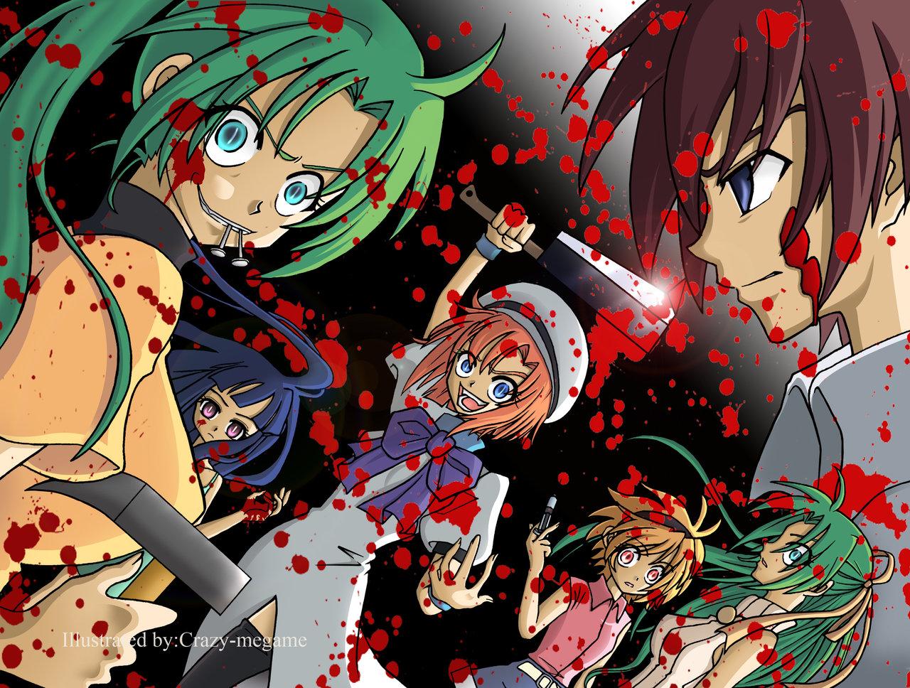 blood furude_rika higurashi_no_naku_koro_ni houjou_satoko maebara_keiichi ryuuguu_rena sonozaki_mion sonozaki_shion twins