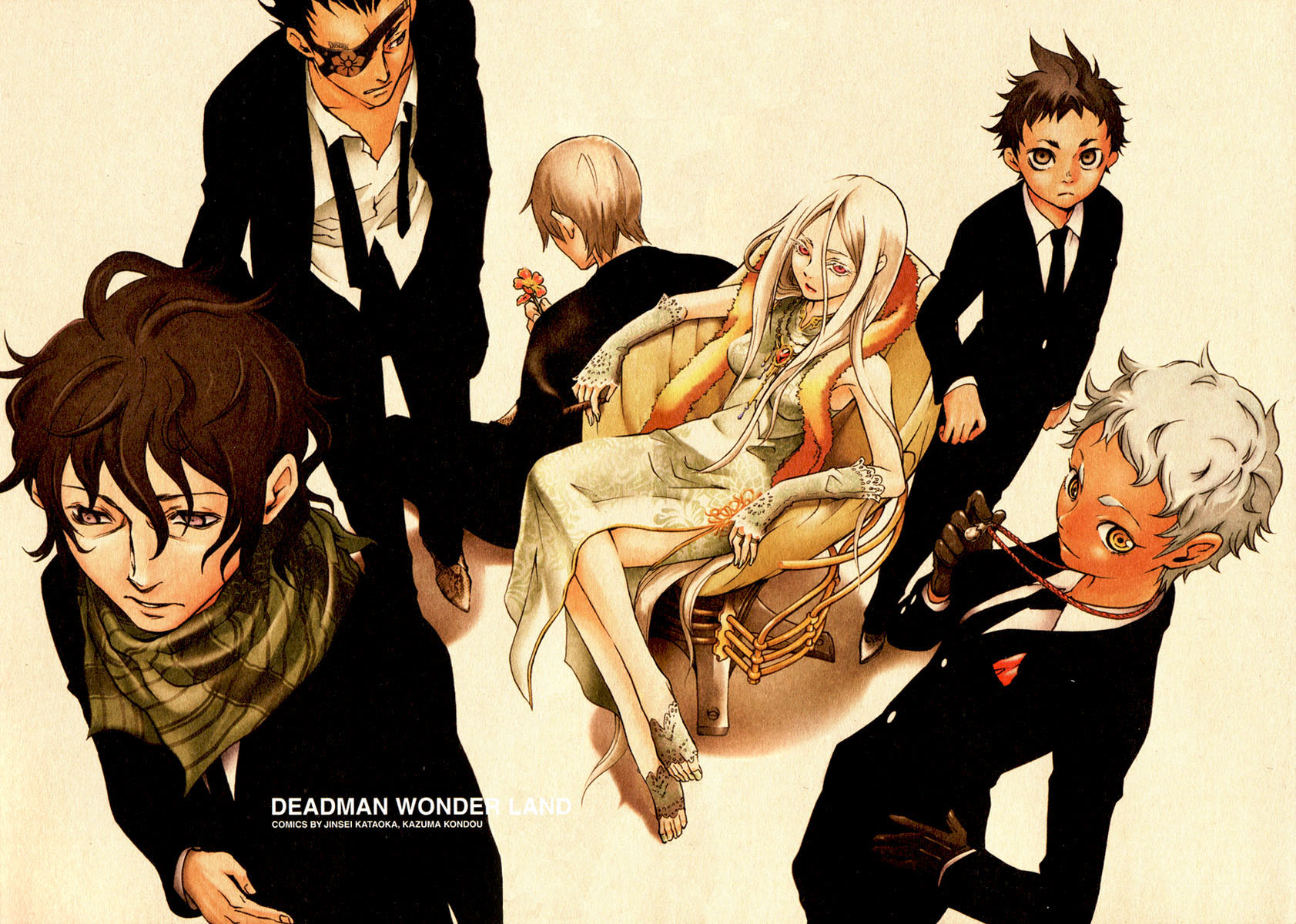 deadman_wonderland igarashi_ganta karako_koshio kengamine_nagi senji_kiyomasa shiro_(deadman_wonderland) takami_yoh