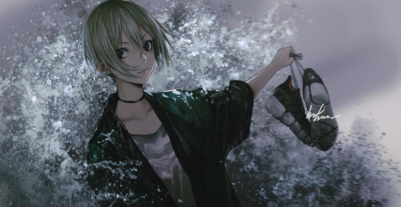 black_eyes collar green_hair idolmaster idolmaster_cinderella_girls infukun shiomi_shuuko short_hair signed water