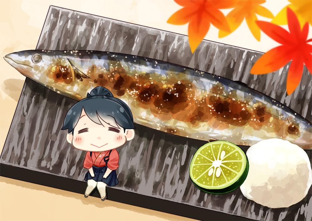 animal anthropomorphism autumn black_hair chibi fish food fruit hinata_yuu_(artist) houshou_(kancolle) japanese_clothes kantai_collection leaves ponytail skirt