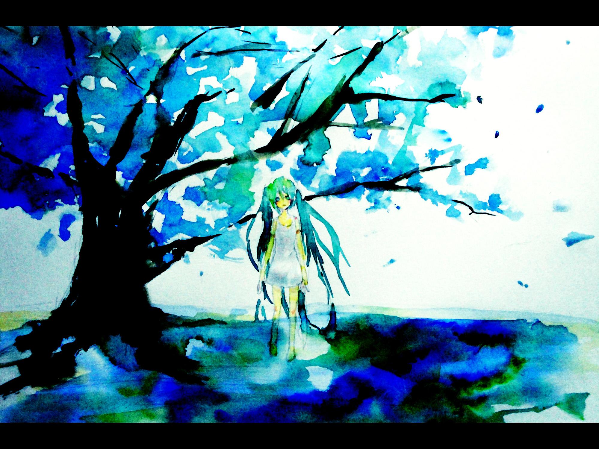 aqua_eyes aqua_hair blue dress hatsune_miku tree twintails vocaloid