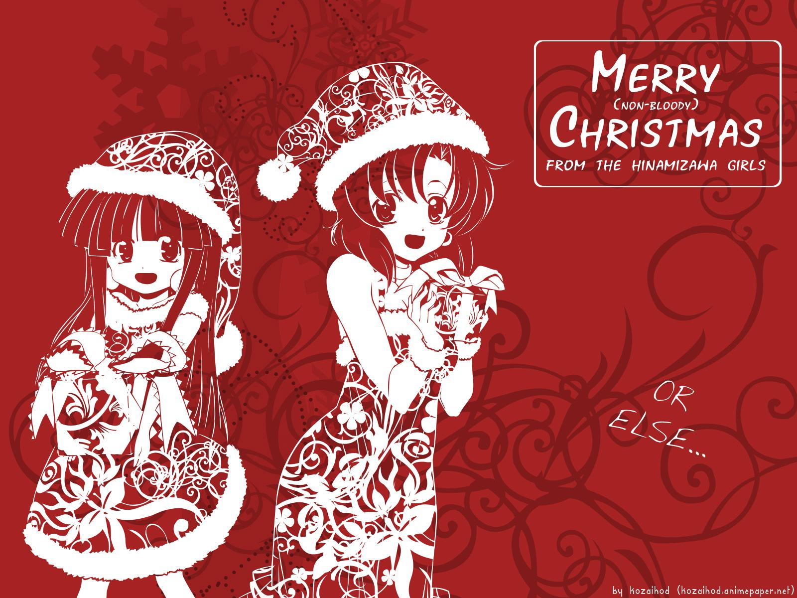 2girls christmas furude_rika hat higurashi_no_naku_koro_ni red ryuuguu_rena