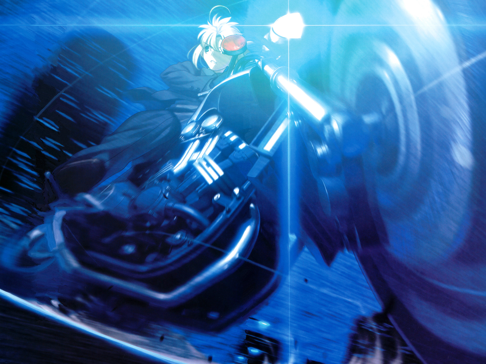 artoria_pendragon_(all) blue fate_(series) fate/stay_night fate/zero motorcycle saber suit tie