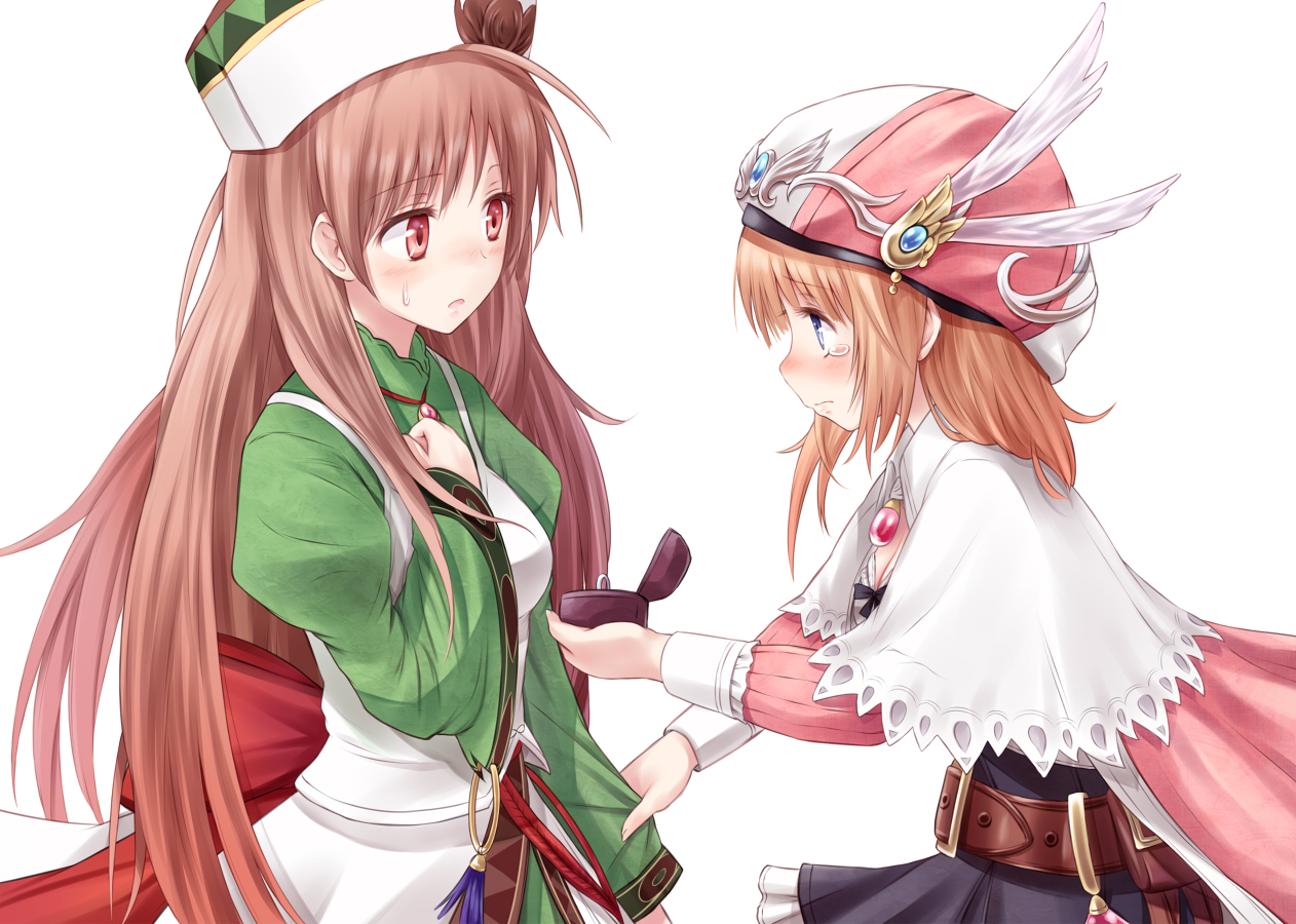 2girls atelier_rorona blue_eyes blush brown_hair dress hat long_hair red_eyes rororina_fryxell suzushiro_yukari tears viorate_platane