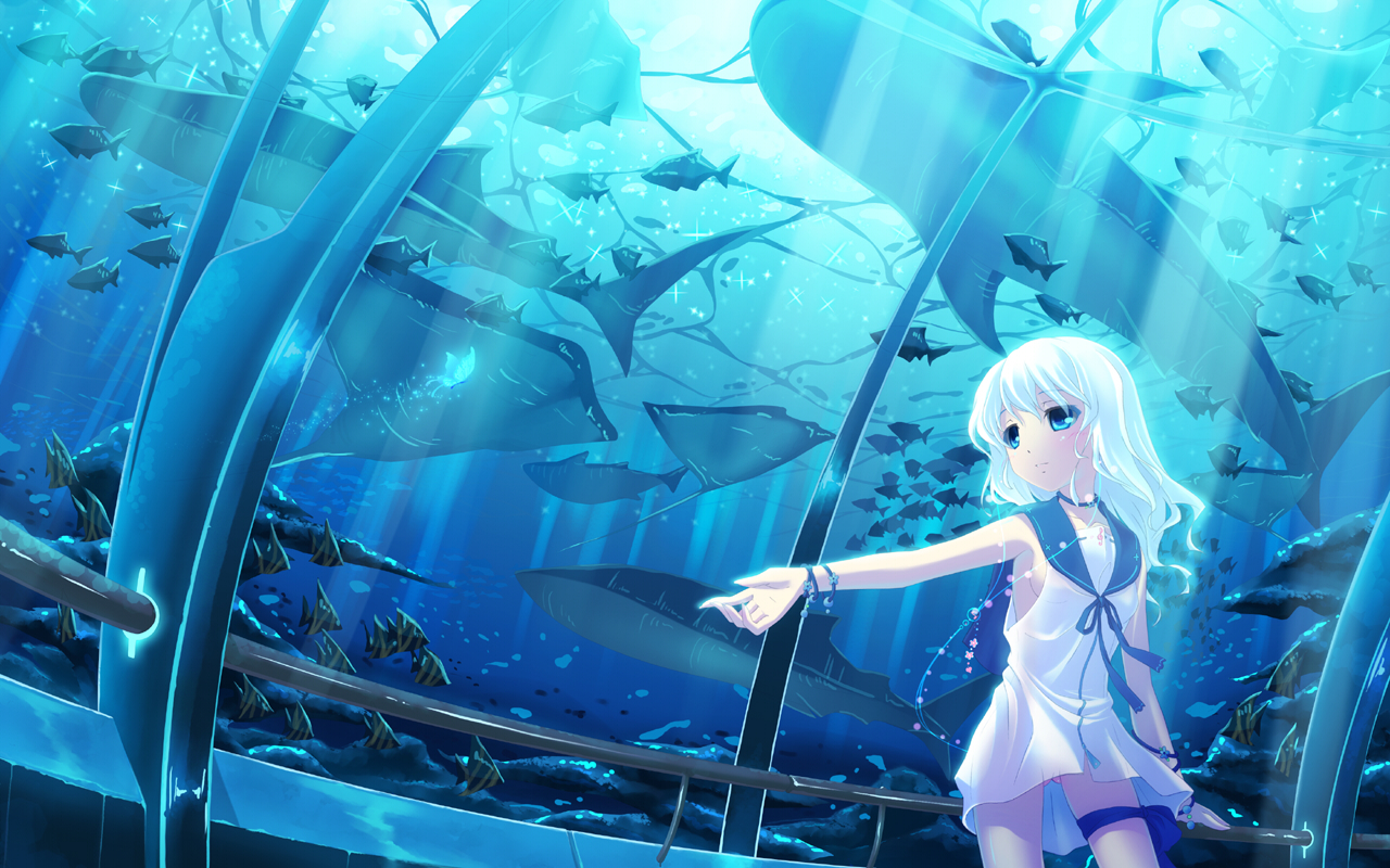 animal fish hinasaki long_hair water white_hair