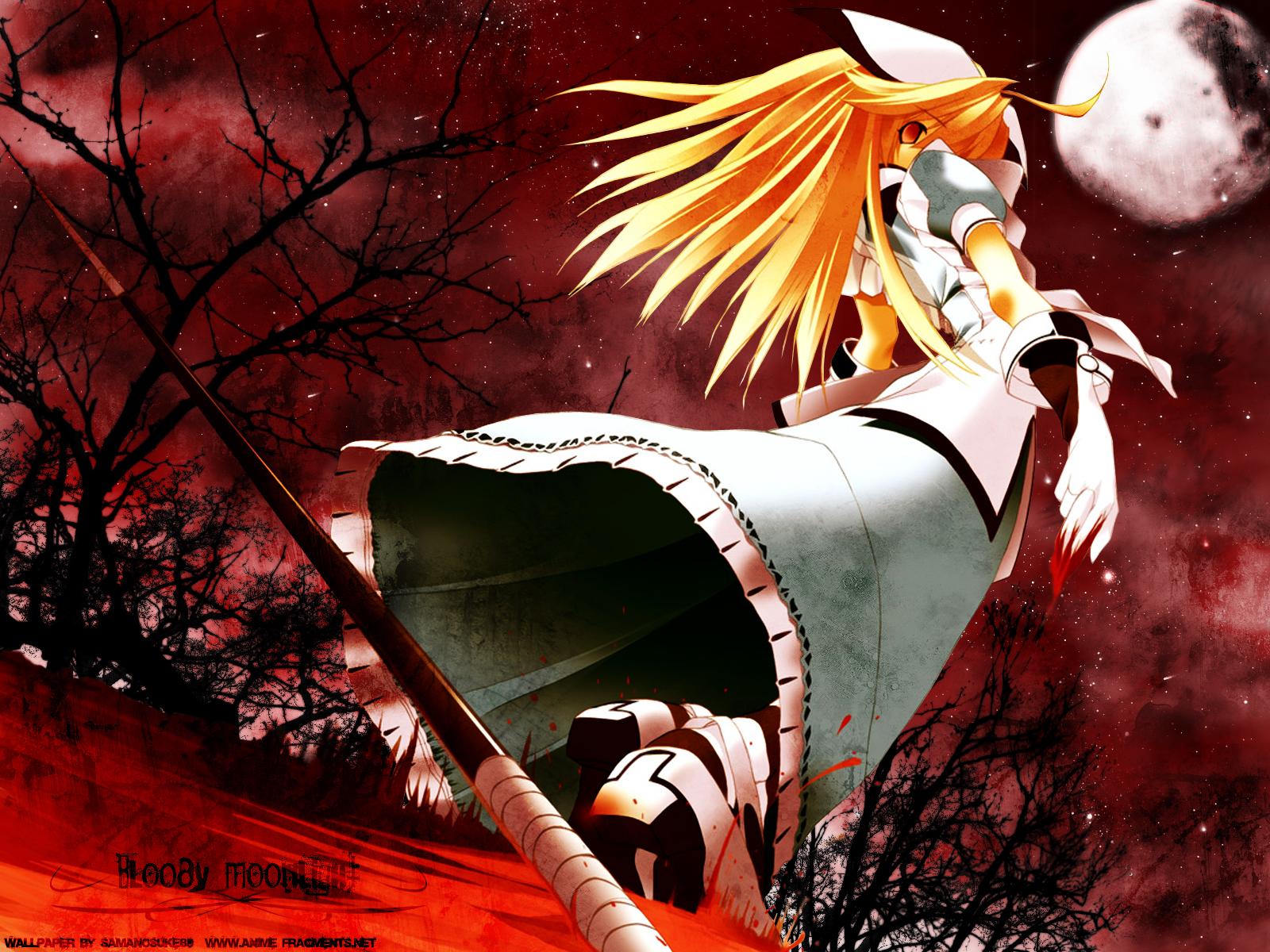 Кровавый лунный свет, аниме, красное, лучшее, рисованное 1600х1200.