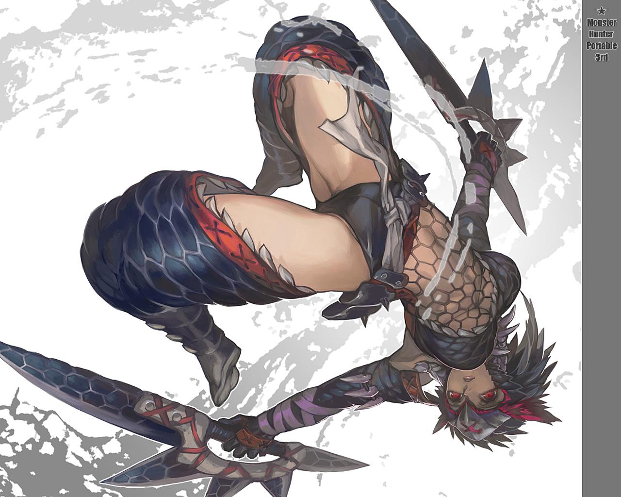 aoin_(omegaboost) monster_hunter nargacuga_(armor) red_eyes weapon