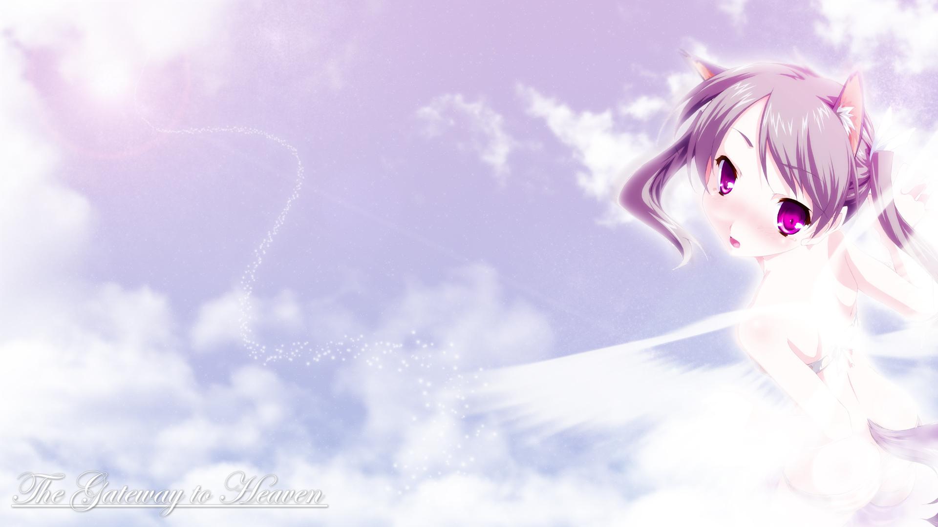 animal_ears clouds purple_eyes sky twintails wings