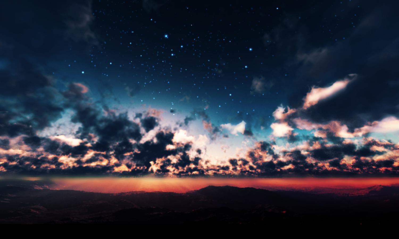 3d clouds landscape night nobody original scenic sky stars sunset y-k