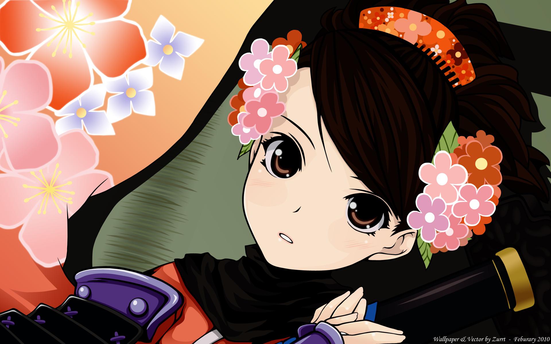 close flowers momohime oboro_muramasa ooji vector