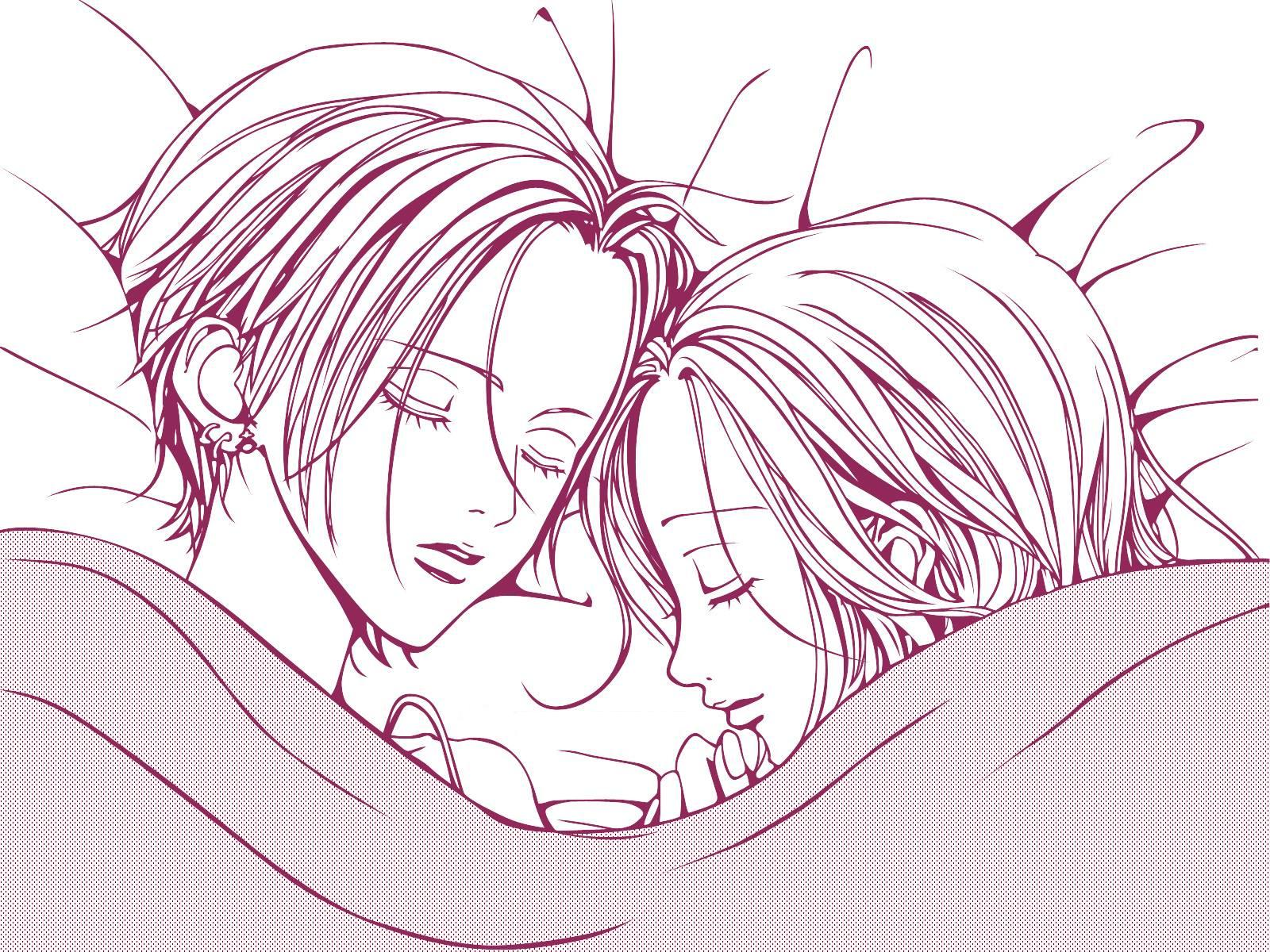 2girls bed hachi jpeg_artifacts monochrome nana nana_(series) osaki_nana white
