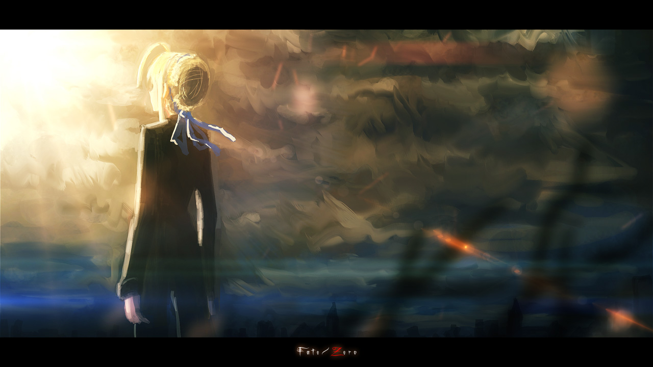 clouds fate/stay_night fate/zero saber sky tomok1