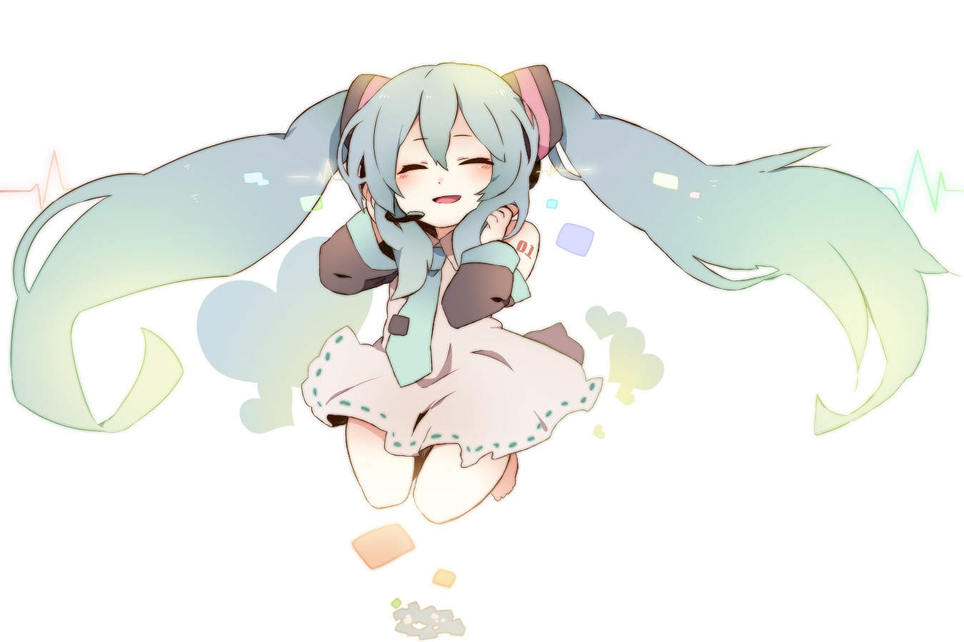 blue_hair dress hatsune_miku kokoroa loli long_hair tie twintails vocaloid white