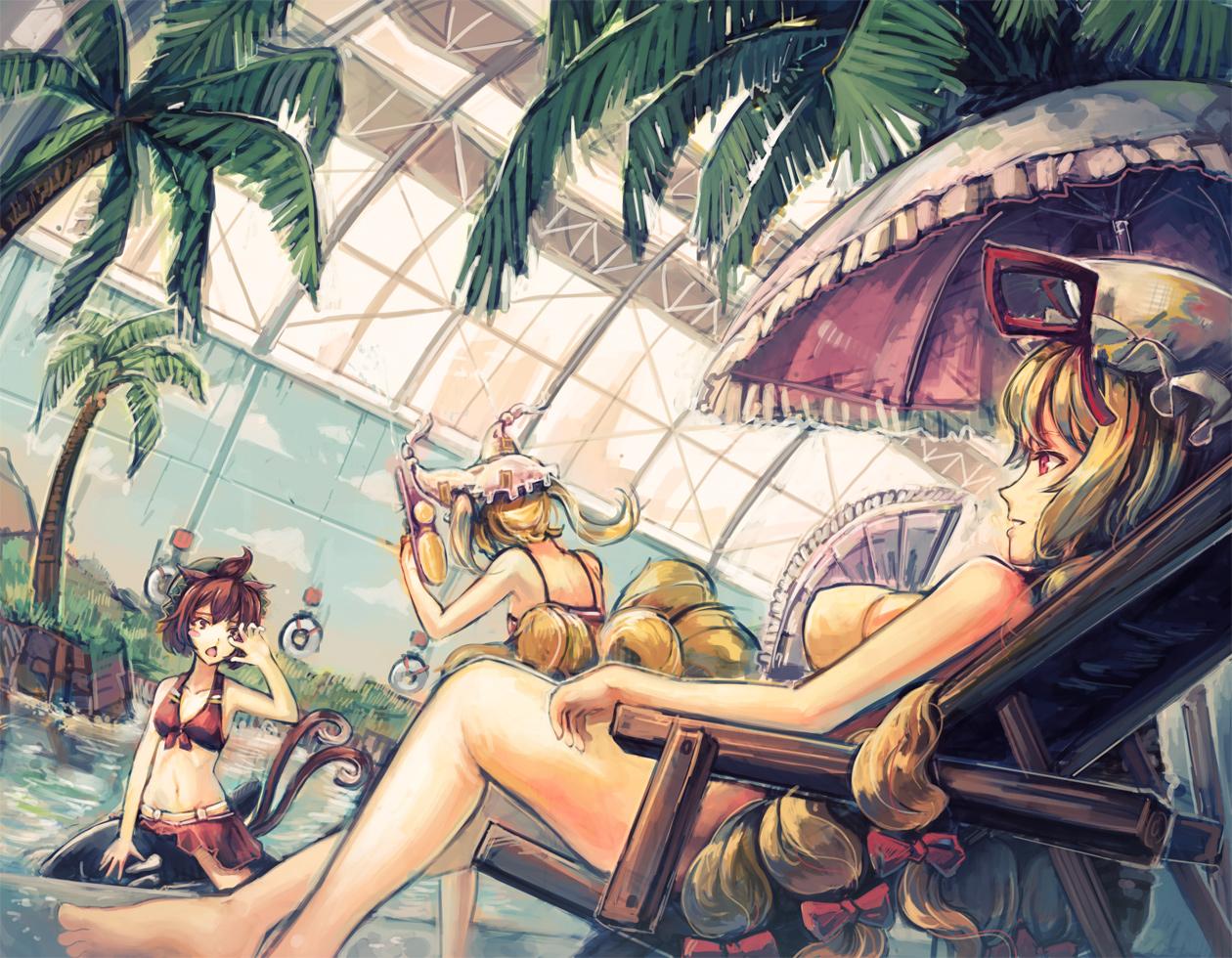 animal_ears bikini blonde_hair blush brown_eyes brown_hair catgirl chen doomfest foxgirl hat long_hair minami-ke multiple_tails navel parody pool red_eyes short_hair swimsuit tail touhou twintails yakumo_ran yakumo_yukari