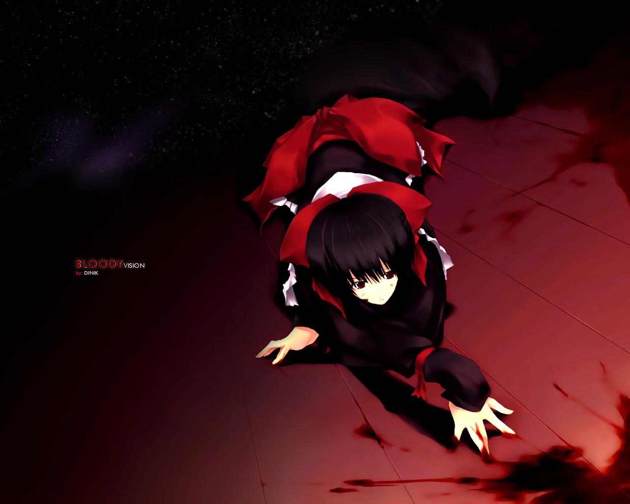 black_hair blood blood_(anime) brown_eyes otonashi_saya short_hair stars