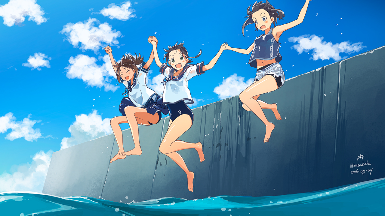 anthropomorphism barefoot black_hair brown_hair clouds fubuki_(kancolle) green_eyes hayasui_(kancolle) i-401_(kancolle) kantai_collection kusakabe school_swimsuit short_hair shorts signed sky swimsuit water